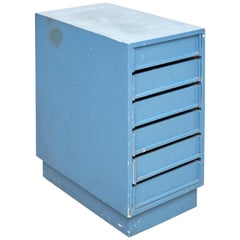 Blue Chest of Rationalist Drawers Wood Netherlands, circa 1960
