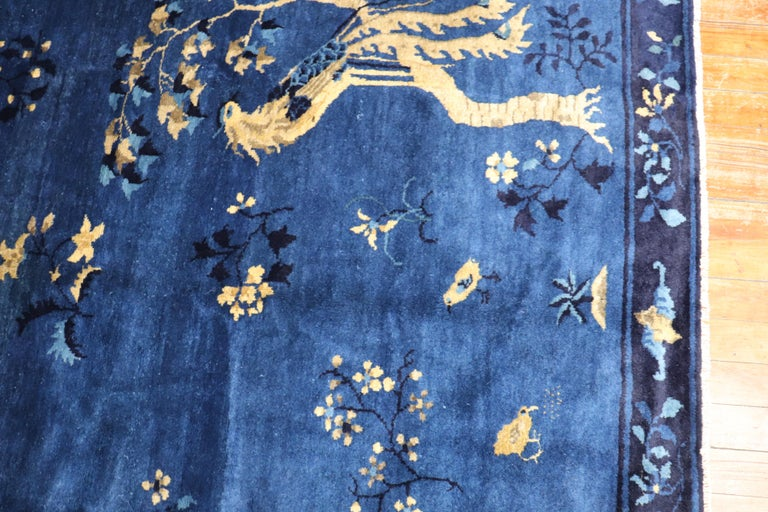 Blue Chinese Antique Pictorial Bird Rug For Sale 4