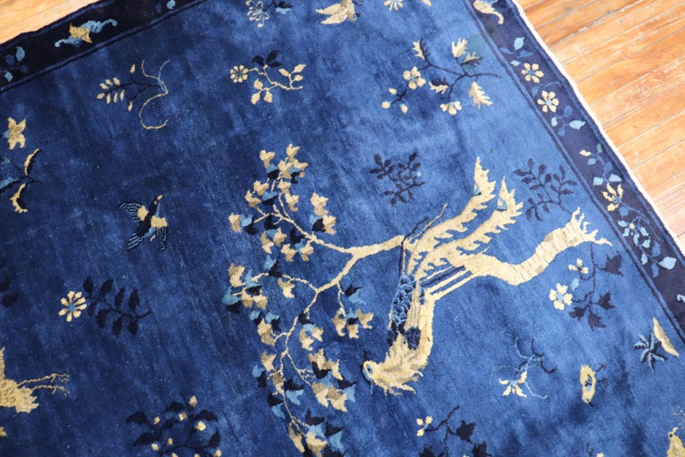Blue Chinese Antique Pictorial Bird Rug For Sale 5