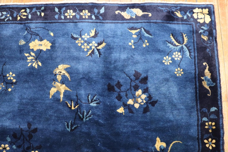 Blue Chinese Antique Pictorial Bird Rug For Sale 6