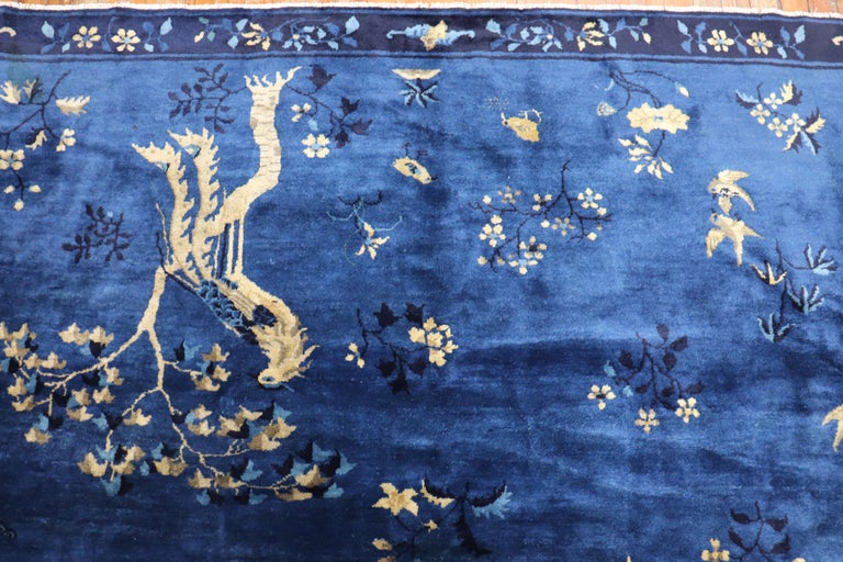 Blue Chinese Antique Pictorial Bird Rug For Sale 8