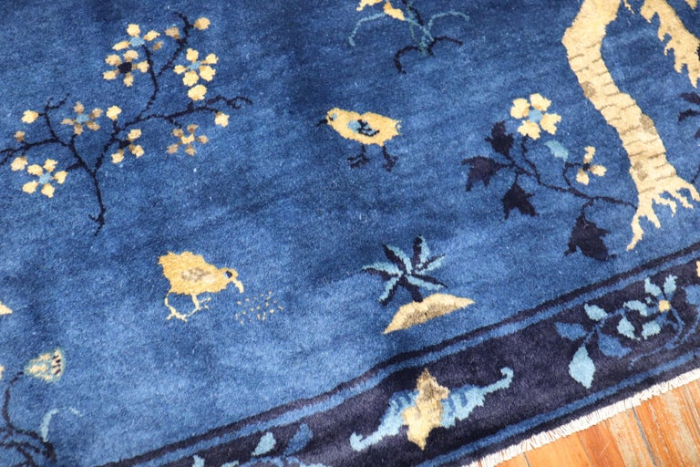 Blue Chinese Antique Pictorial Bird Rug For Sale 9