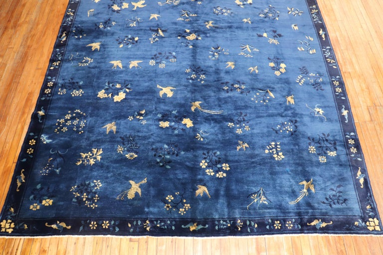 Mid-Century Modern Blue Chinese Antique Pictorial Bird Rug For Sale