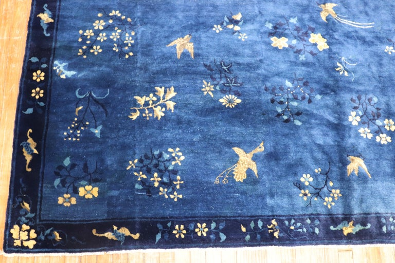 Early 20th Century Blue Chinese Antique Pictorial Bird Rug For Sale