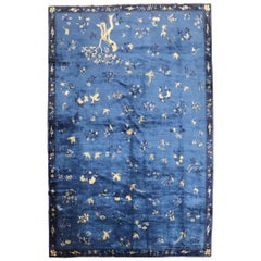 Blue Chinese Antique Pictorial Bird Rug