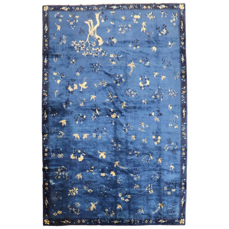 Blue Chinese Antique Pictorial Bird Rug For Sale