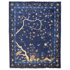 Blue Chinese Antique Pictorial Rug