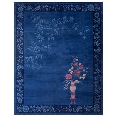 Blue Chinese Art Deco Rug