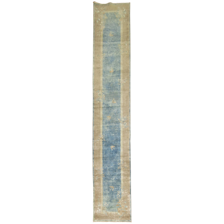 Blue Chinese Art Deco Runner