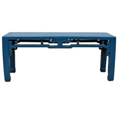 Blue Chinese Spring Bench, Qing Style, Antique in Modern Finish