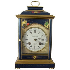 Blue Chinoiserie Bracket Clock by Mappin & Webb, circa 1970