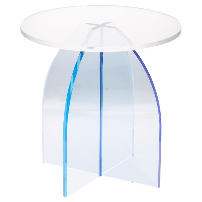 Blue Circular Acrylic Side Table, Sheer by Carnevale Studio For Sale