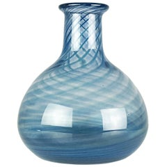 Blue & Clear Murano Glass 1960s-1970s Vase/Bottle Attributed to Barovier e Toso