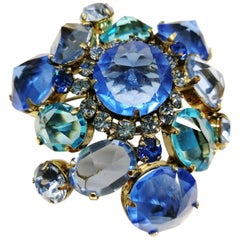 Blue clear pastes set in gilt metal 'cluster' brooch, Schreiner NY, 1960s