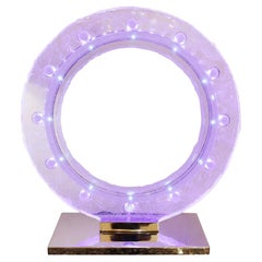 Blue Clock with Crystal Sanded with Led Diodes Inside