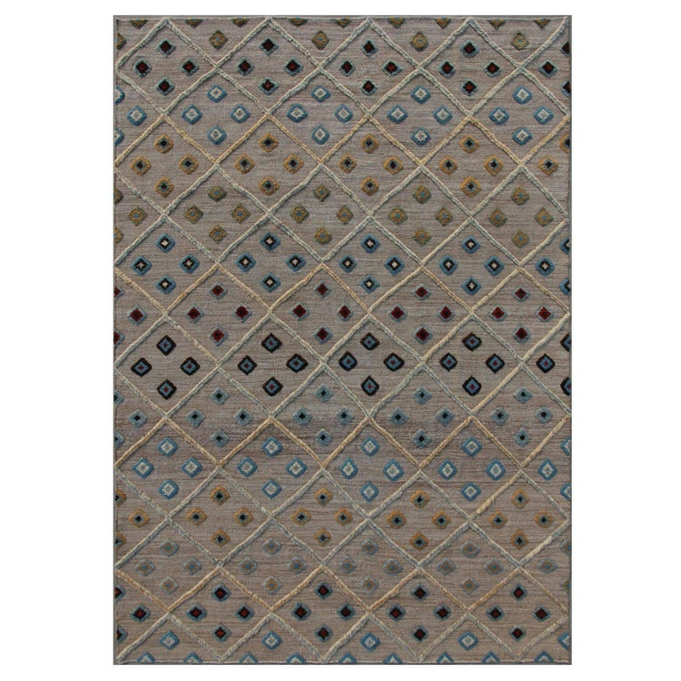 Blue Cloudcroft Neutral/Blue/Multi Tufted Hand-Knotted Wool Rug For Sale