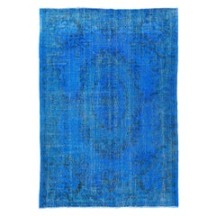 Blue Color Over-Dyed Distressed Vintage Turkish Rug. 6.8x9.8 Ft Handmade Carpet.