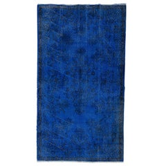 Blue Color Over-Dyed Vintage Anatolian Rug. 4x7 Ft Ideal for Office & Home Decor