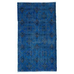 Blue Color Re-Dyed Vintage Modern Rug, Handknotted Floral Design Carpet