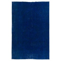 Blue Color Re-Dyed Vintage Rug, Handmade Carpet for Modern Interiors