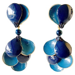Blue Contemporary Statement Earrings
