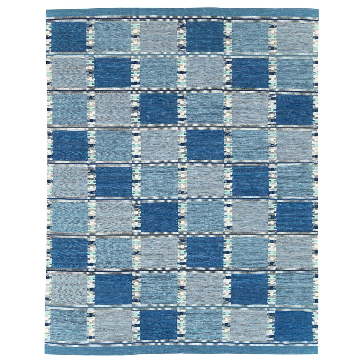 Blue Contemporary Turkish Flat-Weave Room Size Carpet Inspired by Swedish Kilims