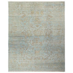 Blue Contemporary Turkish Oushak Rug with Gray & Beige Floral Patterns