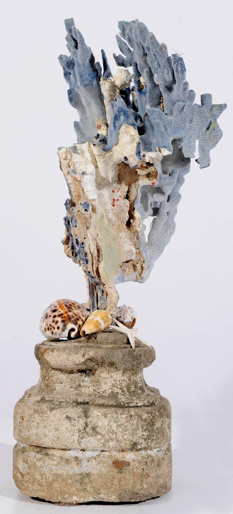 Other  Blue Coral Madrepora Natural Sculpture on a Stone Capitel For Sale