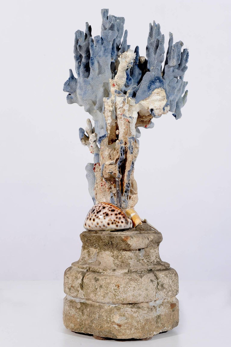 Italian  Blue Coral Madrepora Natural Sculpture on a Stone Capitel For Sale