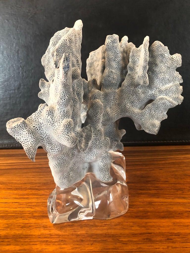 Hollywood Regency Blue Coral Organic Sculptural Specimen on Lucite Base For Sale