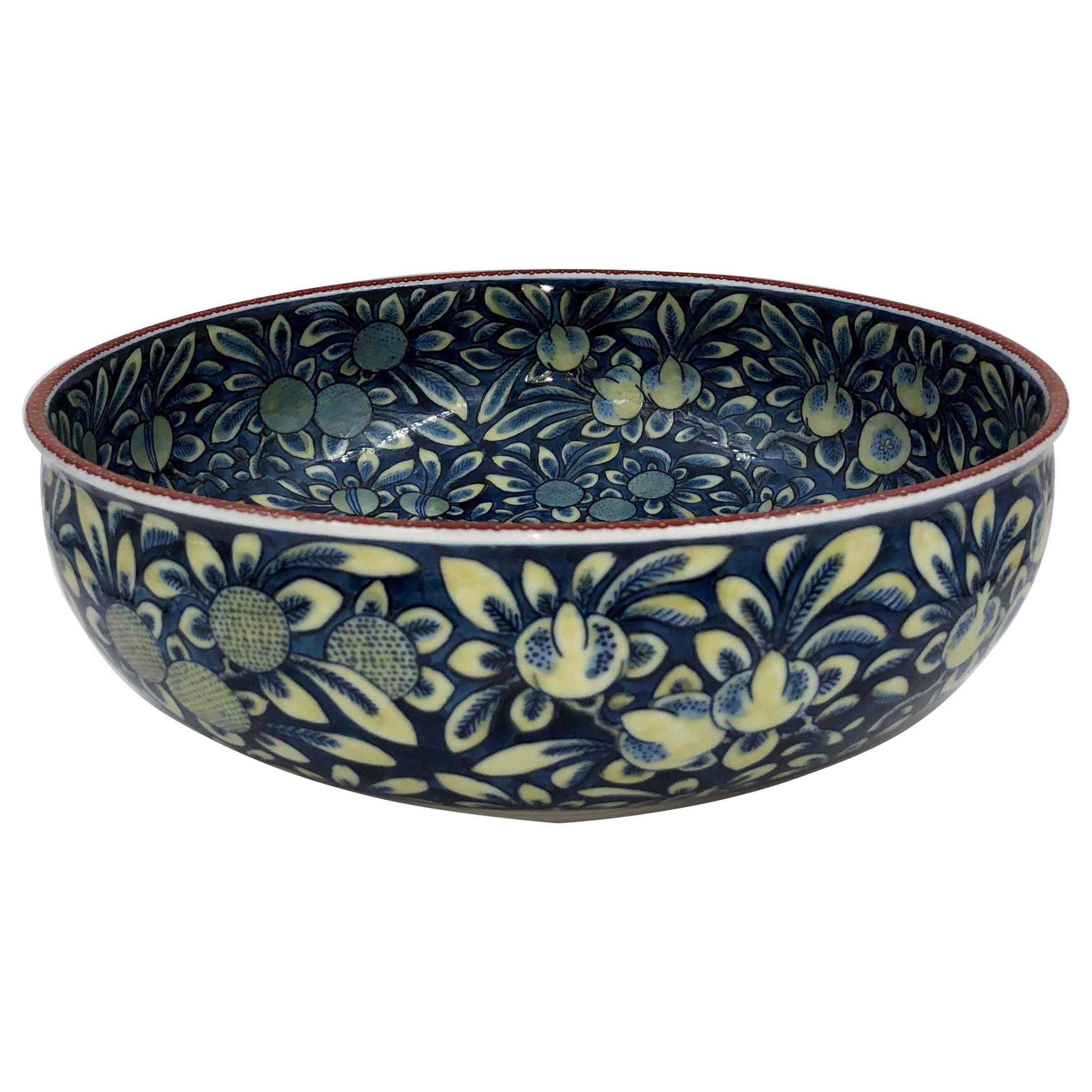 Blue Cream Contemporary Porcelain Bowl by Japanese Master Artist