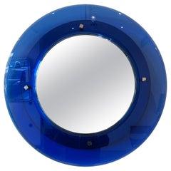 Blue Cristal Art Round Mirror, 1950s