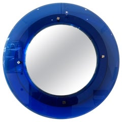 Blue Cristal Art Round Mirror, 1950s