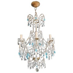 Blue Crystal Chandelier Antique Ceiling Murano Florentiner Lustre Art Nouveau
