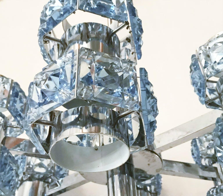 Mid-Century Modern Blue Crystal Chandelier by Sciolari For Sale