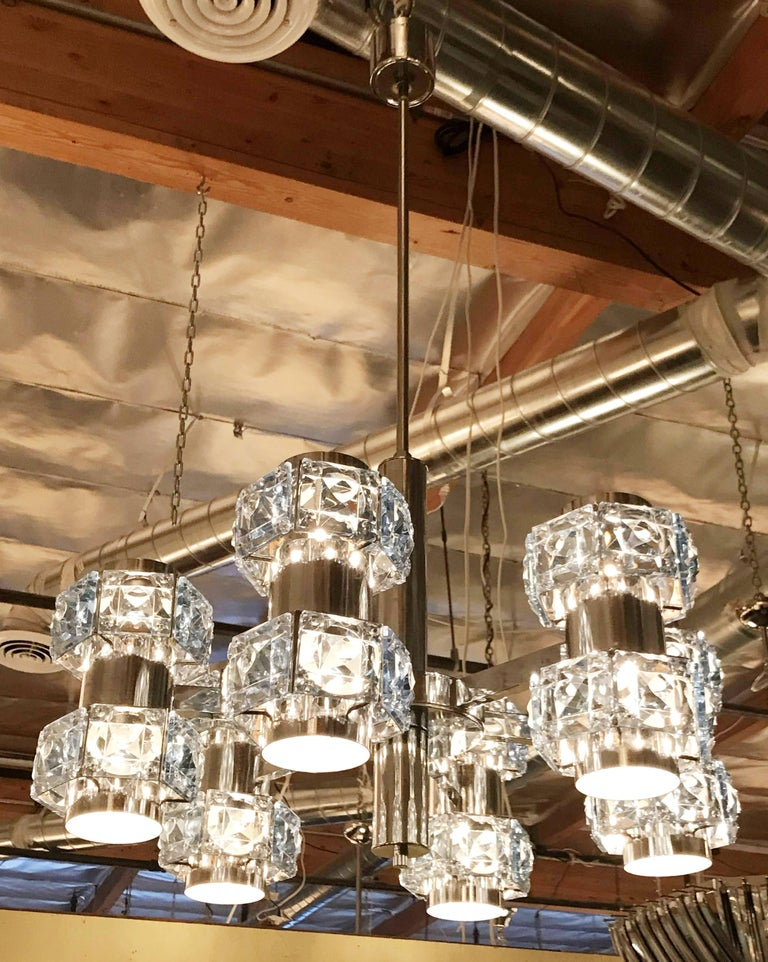 Beveled Blue Crystal Chandelier by Sciolari For Sale
