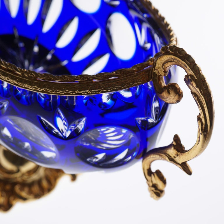 Baroque Blue Crystal Jardinière with Bronze Foot and Top Covered 22-Carat Gold For Sale