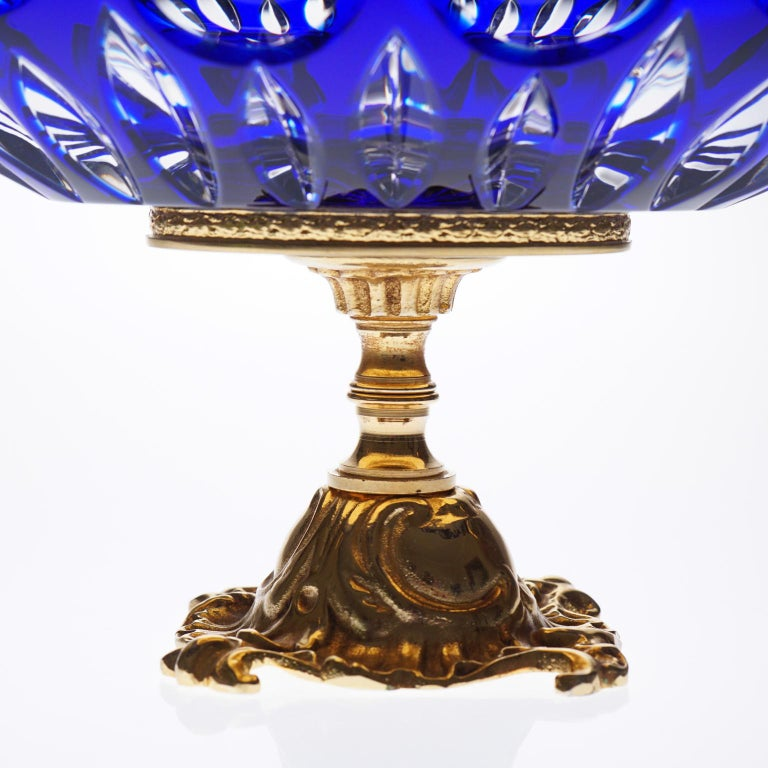 French Blue Crystal Jardinière with Bronze Foot and Top Covered 22-Carat Gold For Sale