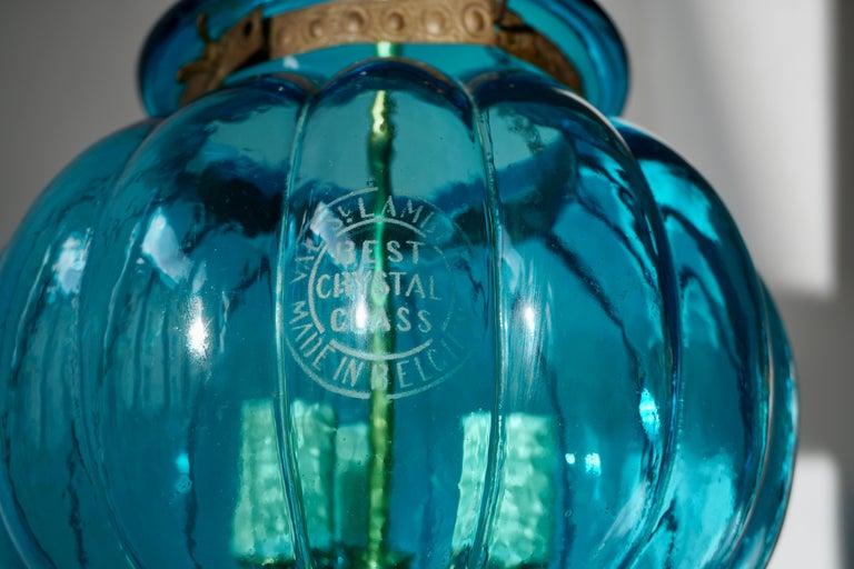 Blue Crystal Pendant Light by Val St. Lambert For Sale 4