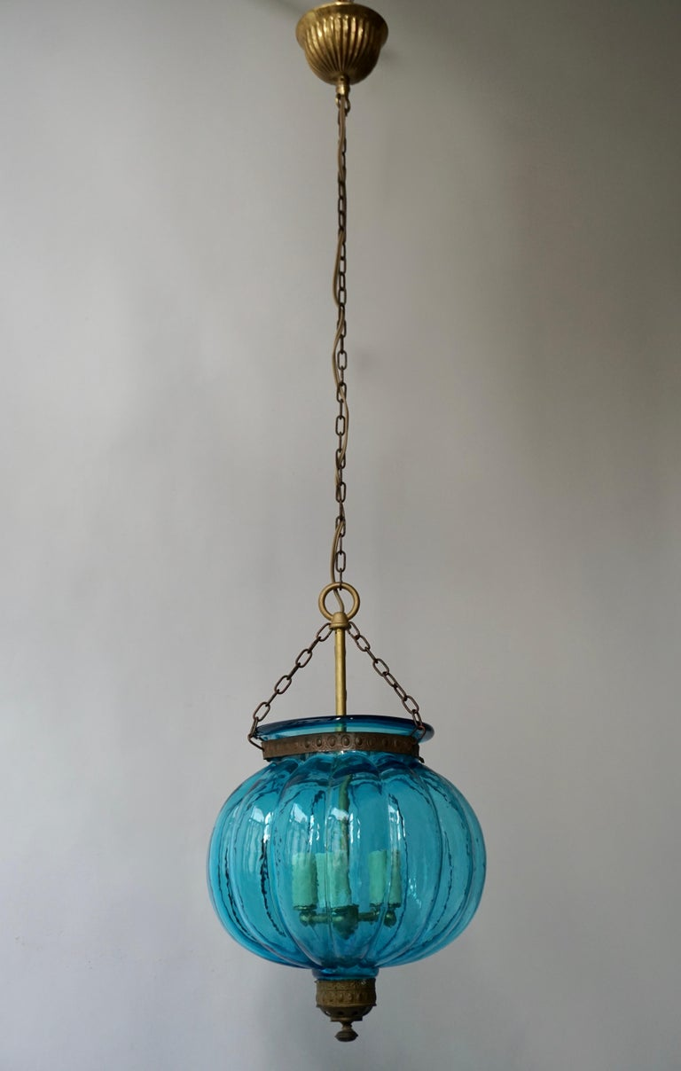 Hollywood Regency Blue Crystal Pendant Light by Val St. Lambert For Sale