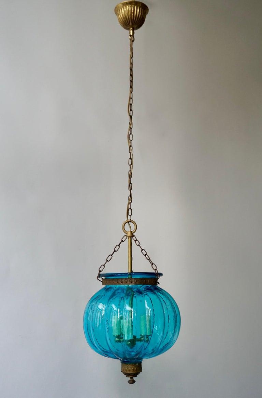 Belgian Blue Crystal Pendant Light by Val St. Lambert For Sale