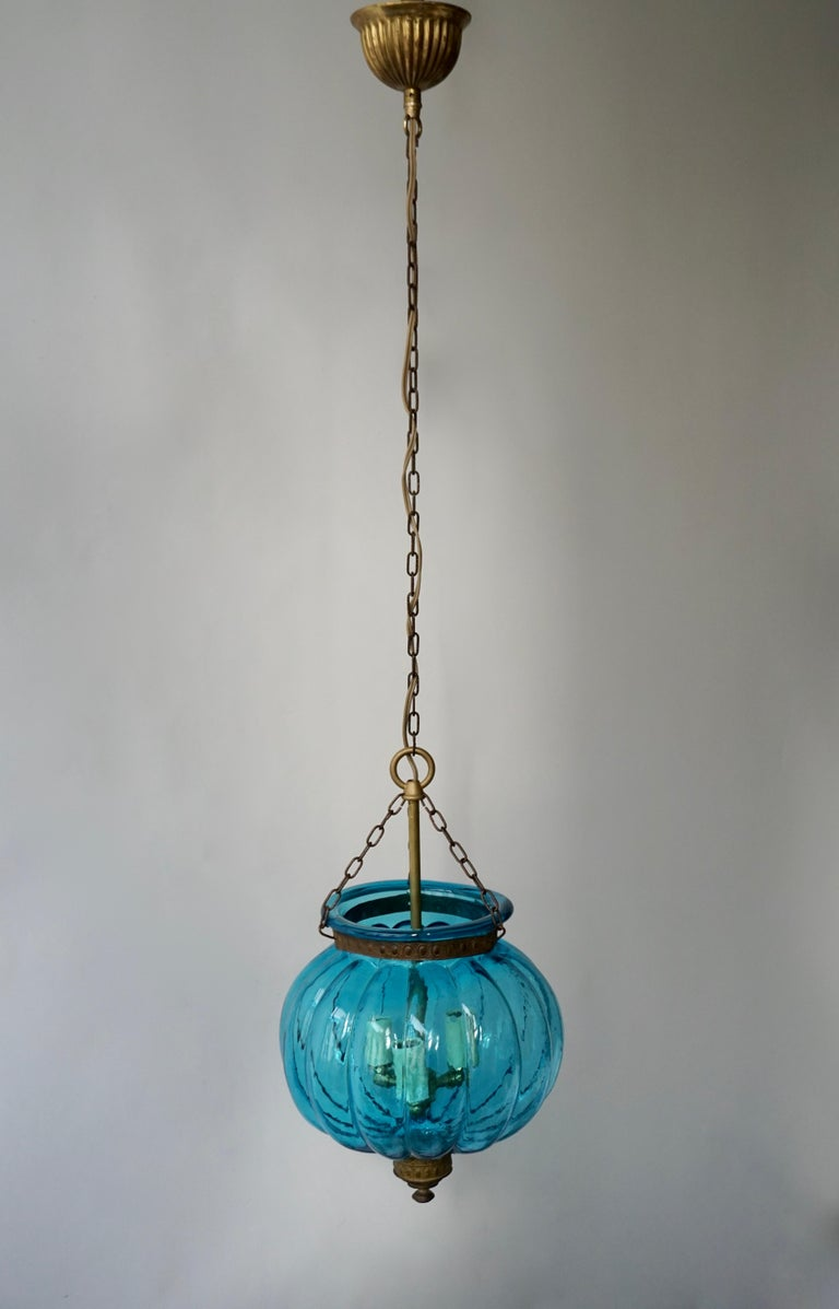 Blue Crystal Pendant Light by Val St. Lambert In Good Condition For Sale In Antwerp, BE