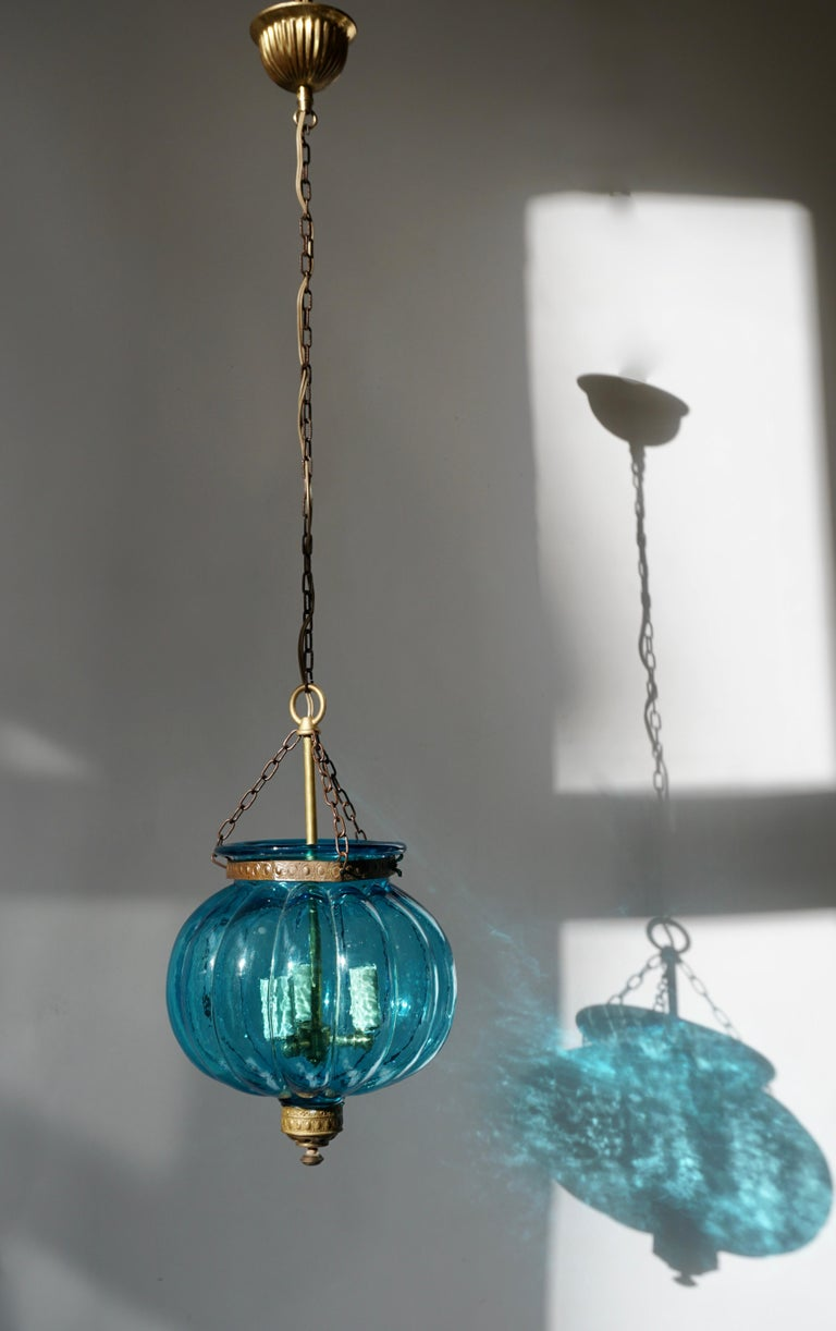 20th Century Blue Crystal Pendant Light by Val St. Lambert For Sale