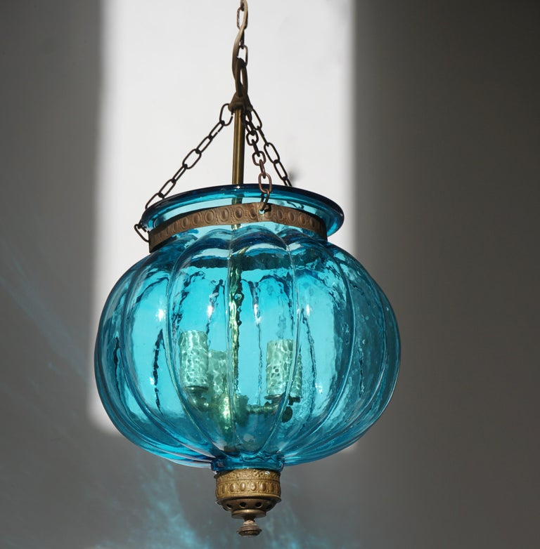 Brass Blue Crystal Pendant Light by Val St. Lambert For Sale