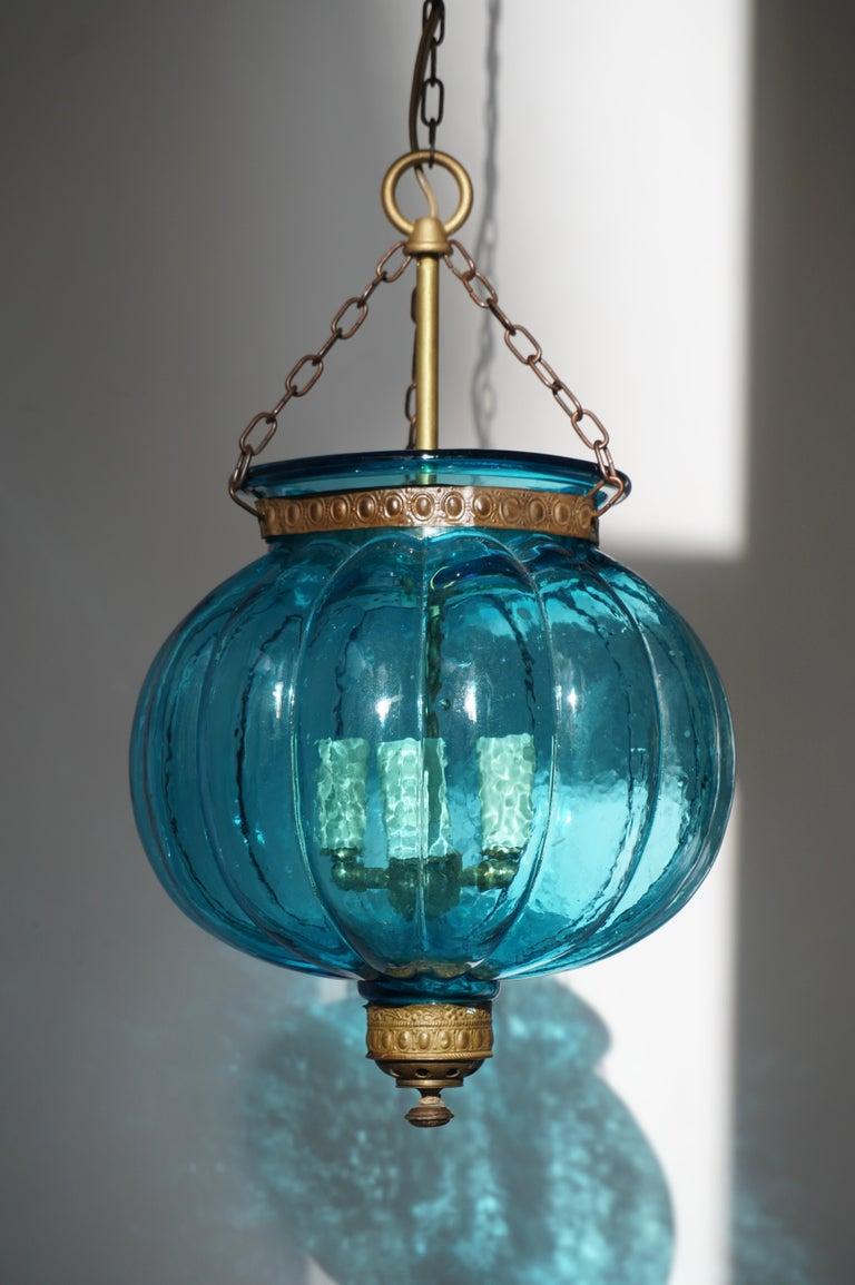 Blue Crystal Pendant Light by Val St. Lambert For Sale 1