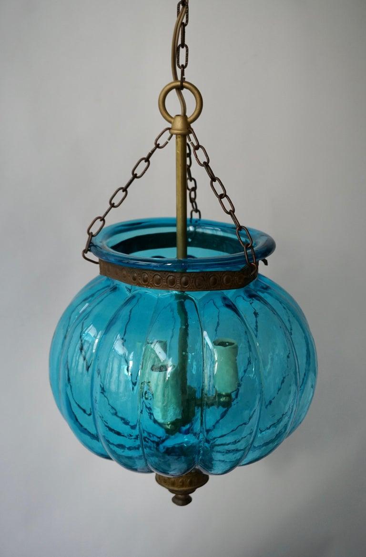Blue Crystal Pendant Light by Val St. Lambert For Sale 2