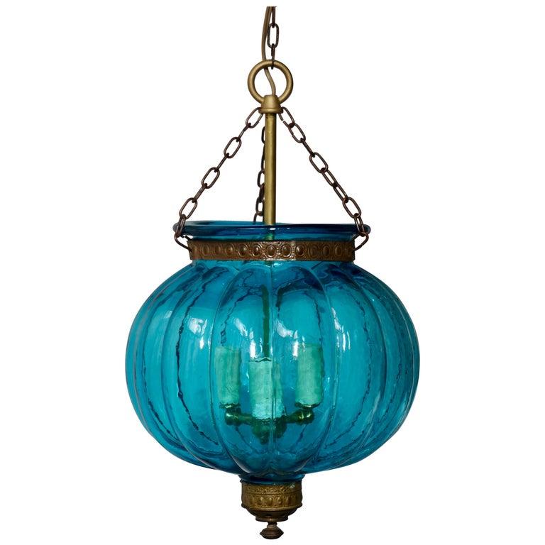 Blue Crystal Pendant Light by Val St. Lambert For Sale