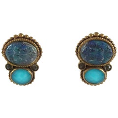 Blue Crystal Quartz and Topaz Clip Earrings with Bronze