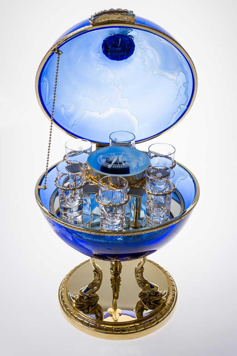 Forged Blue Crystal Vodka & Caviar Cave With Covered 22-Carat Gold, Oriental-Style For Sale
