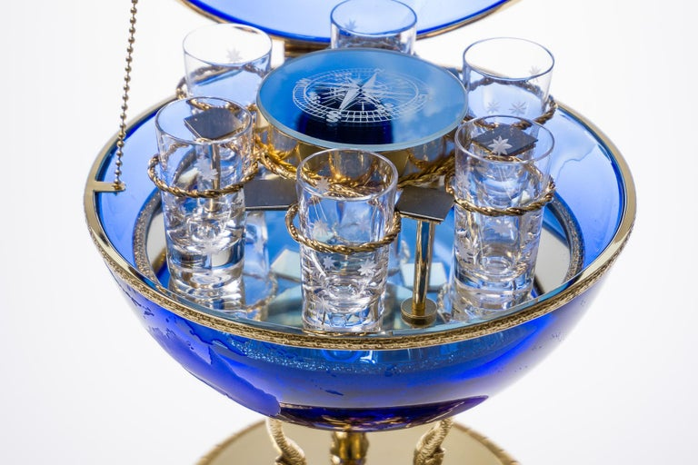 Blue Crystal Vodka & Caviar Cave With Covered 22-Carat Gold, Oriental-Style In New Condition For Sale In Montbronn, FR